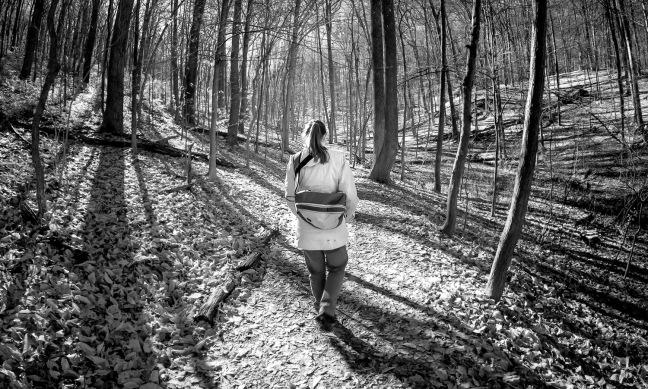 Emily hiking at Oregon Ridge, 12/15.