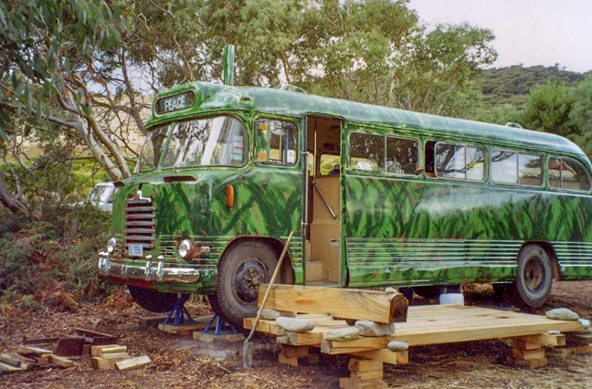 The Peace Bus getting a coat of camo so it wouldn't be seen from Roaring Beach.