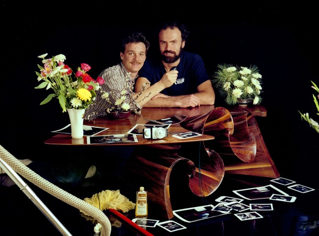 "With Peter Adams. 1983, Ridgeway, Penland School, NC. End of a 4 day effort to photograph his ""Wave"" coffee tables."