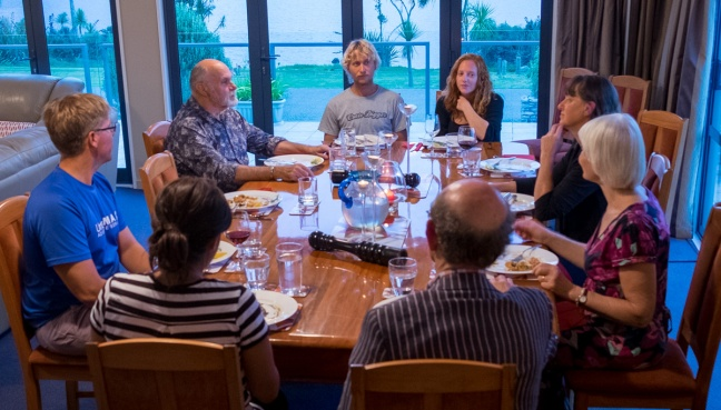 Dinner and Conversation at the Aldamere B&B. William is sitting at the upper left.