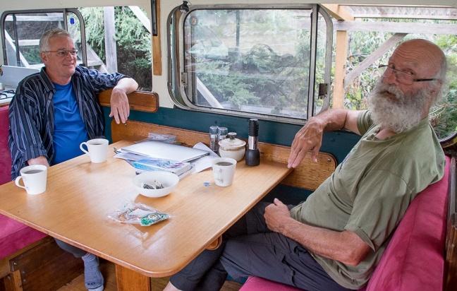 Dan and Peter in the Peace Bus.