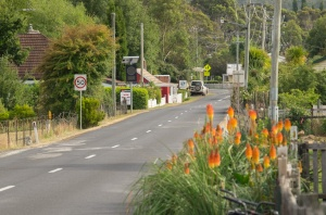 Westerway, Tasmania. The Possum Shed is up ahead on the left.