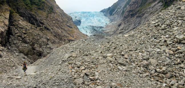 Emily hiking up to Franz Josef Glacier, South Island, NZ.